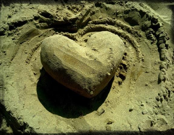 srdce z pláže